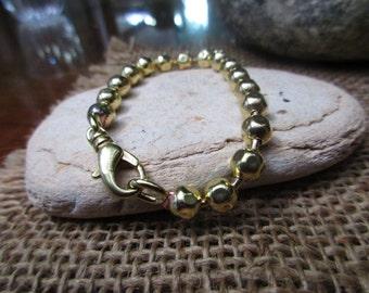 6mm Faceted Ball Brass Bracelet. All Brass.