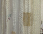Shabby Chic Shower Curtain/Vintage Crochet/Embroidery