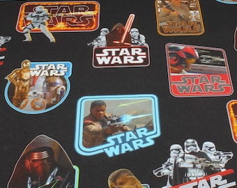 Fabric for children cotton elastane Single jersey black Star Wars Kylo Ren Clone Chewbakka