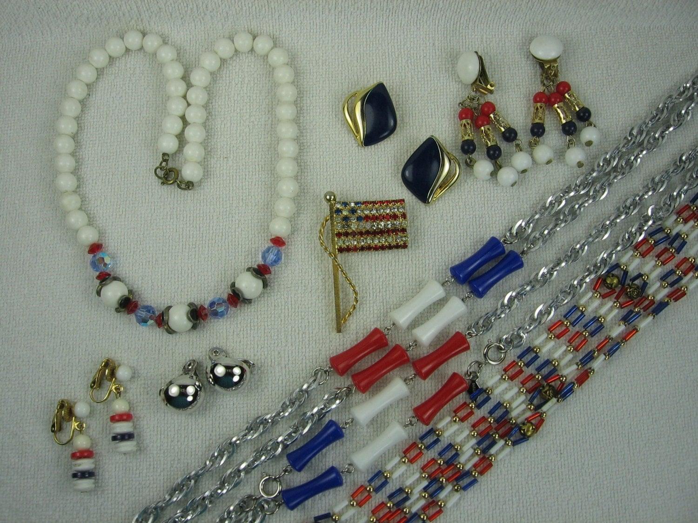 vintage patriotic jewelry lot of 8 pieces