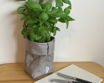 Washable Kraft Paper Storage Bag - Grey SMALL