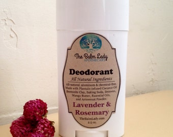 Lavender and Rosemary Natural Deodorant Deoderant Stick Sensitive Skin Formula All Natural Ingredients for normal to sensitive skin