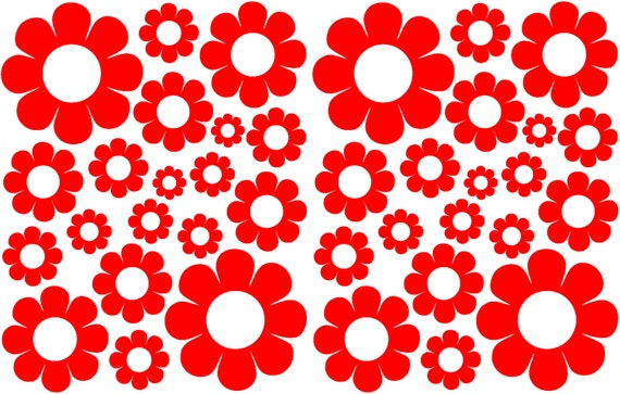 38 Red Daisy Vinyl Shaped Bedroom Wall Decals Stickers Daisies Teen Kids Baby Nursery Dorm Room Removable Custom Made Easy to Install