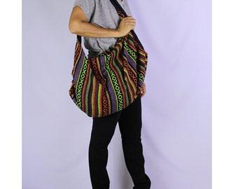 Shoulder Bag Crossbody Nepal Bag Sling Bag Hippie Hobo Bag  Handmade bag Purse Cross Body Thai bag / Gift Black Multi-color (SH11)
