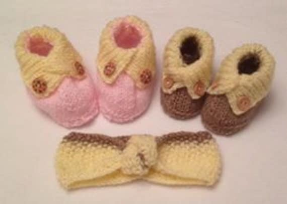 Baby Knitting Pattern Crossed Cuffed Shoes with matching Knotted Hairband - 0-6mths