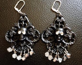 Black Filigree Skull Earrings