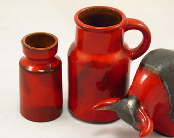 Fritz van Daalen vases - set of 2 - Studio ceramic German Vase, 1950s West German Pottery, red