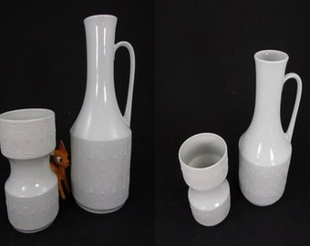 Vintage bisque porcelain set of two vases / KPM / model 625 3 and 621 | West German Pottery | 60s