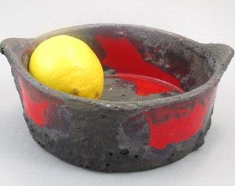 SALE Pottery bowl, ceramic bowl, fruit bowl, plate by Marei / FAT LAVA design / West German Pottery / Mid century /