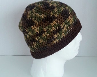 Mens Crochet Beanie, Men's Crochet Camouflage Hat, Teen Boys Crochet Beanie Camoflage and Brown, Mens Winter Hat