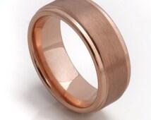 Beautiful Rose Gold Men's Wedding Band, 8MM, Men's Ring, Tungsten Carbide Ring, Comfort Fit, Sizes 8-13