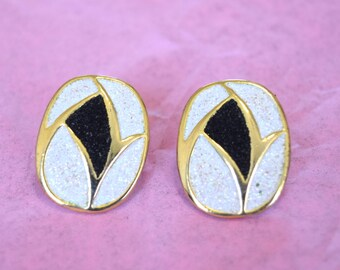 Vintage 1980s Gold White and Black Oval Stud Earrings Oversized Textured Retro Gift for Her Anniversary Gift Birthday Present