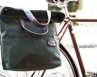 Bike Pannier / Canvas Tote Pannier Bag / Single Pannier / Bike Bag /  Cycle  Bag / Bicycle Bag / Pannier Bag