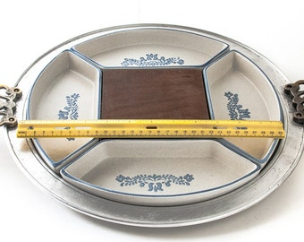 Four Part Relish W/Metal Handled Tray Wood Cheese Block in Yorktowne (USA) by Pfaltzgraff Metal and Ceramic Relish Tray