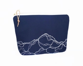 Marble embroidery zipper pouch or pencil case, medium zipper pouch, Modern embroidery navy blue make-up bag