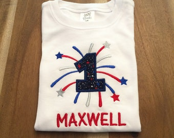 Patriotic Firework Number Birthday Shirt or Onesie : personalized, embroidered, appliqued, name 0-5