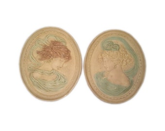Victorian Edwardian-Style Cameo Wall Plaques, Pair