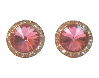 Pink Swarovski Rivoli Crystal Earrings
