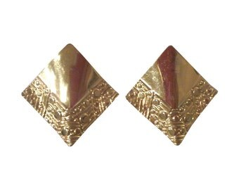 Modernist Gold-tone Triangle Statement Earrings