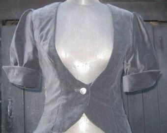 REDUCED! Black Velvet Short Sleeved Jacket