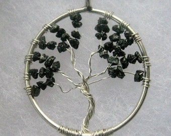 REDUCED! Sterling Silver Black Diamond Tree Of Life Pendant