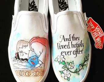 Disney Snow White and Prince Charming Happily Ever After Custom Made Shoes