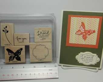 Stampin' Up! GREAT FRIEND, Set of 5 Wood Mounted Rubber Stamps Plus Sample Card Front