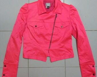 Womens Genuine Versace Jacket pink neon full zipper Size Small