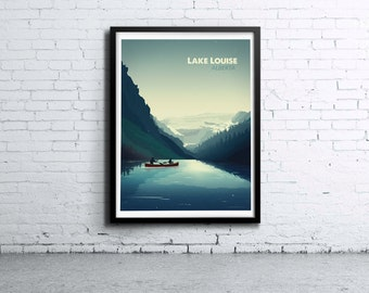 Lake Louise Skyline Illustration Print, Poster, Art, Wall Art, Typography