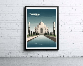 Taj Mahal India Night Illustration Print, Poster, Art, Wall Art, Typography