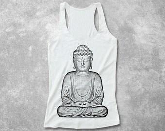 Women Buddha Yoga Screen Printed Fitted Tank Top racerback women soft Silkscreen rayon hand screenprint art graphic design top