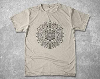 Men Shirt Yoga Mandala Tshirt Stencil design Mantra Custom Graphic T shirt Spiritual meditation Screen Printed silkscreen tee Sizes M L XL