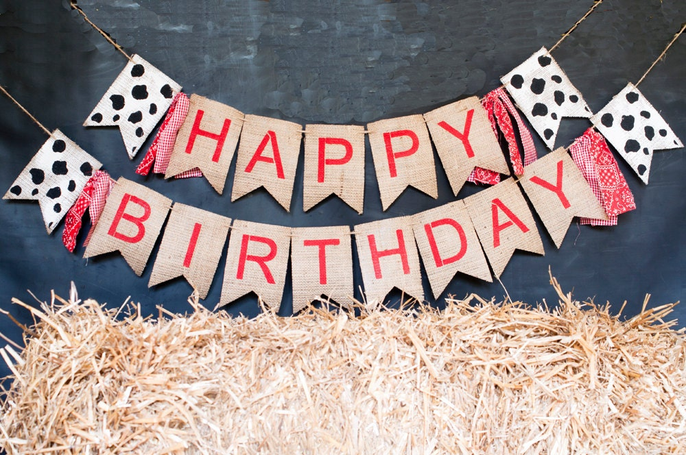 Barn Theme Party Banner Farm Happy Birthday Banner Cow Print