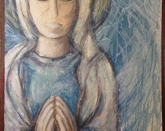 "Mary Boho Spiritual ORIGINAL 24""x36"" Mixed Media painting"