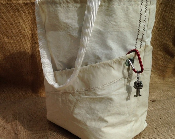 Sail Cloth Tote with 4 pockets, wine bag, beach bag, travel bag
