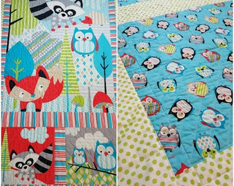 Owl, Fox, Raccoon, woodland animals quilt