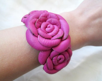 FREE SHIPPING Hot Pink Leather Roses Bracelet Leather Bracelet Gift For Woman For Her Leather Cuff  Leather Jewelry Leather Design