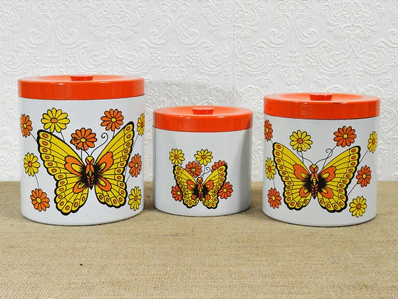 Butterfly Canister Set 3 Orange And Yellow Nesting Canisters