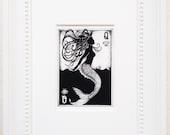 "Mermaid art print, Mermaid illustration, fantasy art, ink drawing, matted print, playing card art, black and white art, ""Queen of Seashells"""