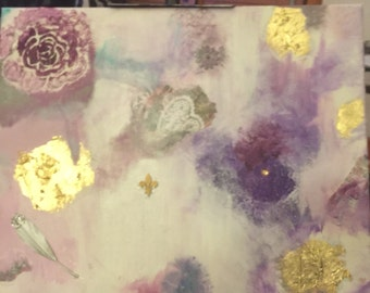 Purple floral abstract mixed media art