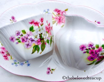 Shelley 'Stocks' Dainty Pink Pansy Cream and Sugar Tray Set