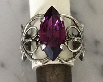 Swarovski Amethyst Filigree Ring,  Amethyst Crystal Adjustable Ring, Swarovski Amethyst Crystal Ring