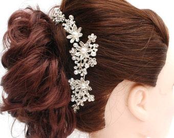 Flexible Bendable Fit to Shape Hair Piece - Silver Plated Pearl Austrian Crystal Bridal Hair Comb Wedding Hair Clip Tiara Slide Vintage -FH2