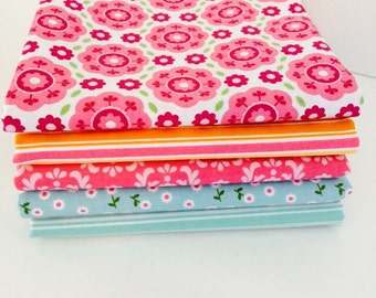 Fat Quarter Bundle Summer Song 2 by Zoe Pearn for Riley Blake Designs 5 Fabrics