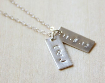 Personalized Small Tag Name Necklace In Sterling Silver, Gold Filled or Rose Gold Filled. Simple Initial Necklace. Hand Stamped Necklace