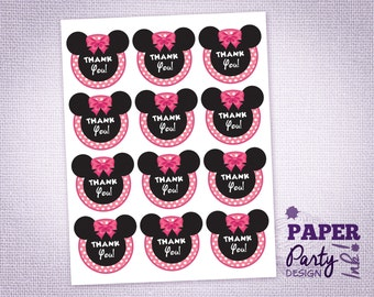 Minnie Mouse Party Thank You Tags, Minnie Thank You Tags, Minnie Thank You Favor Tags, Minnie Party Thank You Labels and Tags