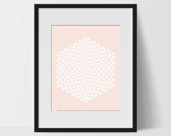 Geometric Print Art, Geometric Wall Art Prints, Geometric Printable, Digital Art Print, Geometric Print, Instant Download, Modern, Salmon