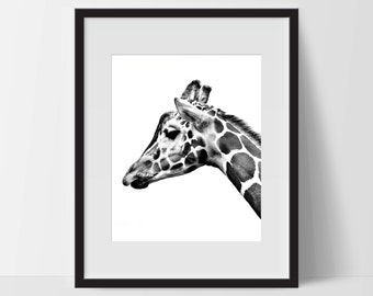 Wall Print Art, Giraffe Art, Giraffe Decor, Digital Art Print, Giraffe Print, 8x10, Nature, Black and White, Sketch