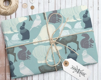 Winter Animals Gift Paper, Gift Wrap Paper, Wrapping Paper, Digital Wrapping Paper, Instant Download Paper