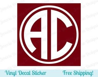 "Circle Monogram Vinyl Decal Sticker - 2 Initials - 2"" 3"" 4"" 5"" 6"" 7"" 8"" 9"" - 26 Vinyl Color Options - FREE SHIPPING - C2B5"